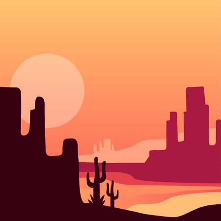 Sandy western desert with cacti and rocky mountains. Natural landscape with sunset or sunrise. Vector design for travel poster, print, mobile game