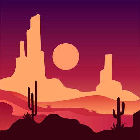 Landscape of sandy desert with rocky mountains and cactus plants. Natural scenery with sunset. Vector in gradient colors Illustration