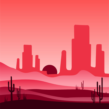 Landscape of wild western desert with silhouettes of rocky mountains and cactus plants. Mexican scenery. Vector illustration in red and pink gradient colors. Design for mobile game, cover or postcard. Ilustracja