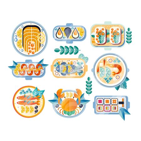 お皿に様々なシーフード料理のセット。ゆでカニ、ムール貝、エビ、サーモン、マグロ、寿司、サンドイッチ、キャビア付き。色付きのテクスチャ