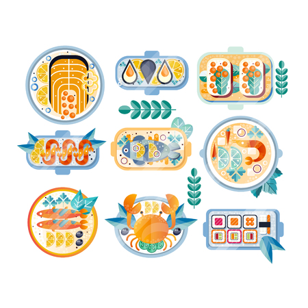 Set of various seafood dishes on plates. Boiled crab, mussels, shrimps, salmon, tuna, sushi and sandwiches with caviar. Colored textured icons. Flat vector illustrations isolated on white background.  イラスト・ベクター素材