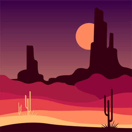 Landscape of wild western desert with rocky mountains and cactus plants. Mexican sandy scenery. Vector in gradient colors