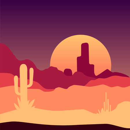 Sunrise in Mexican desert landscape with cactus plants and rocky mountains. Vector design in gradient colors