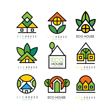 Collection of original logos with eco friendly houses. Ecological construction. Linear emblems for building company, real estate agency or architectural service. Vector illustration isolated on white