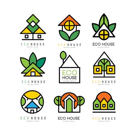 Colección de logotipos originales con casas ecológicas. Construcción ecológica. Emblemas lineales para empresa constructora, agencia inmobiliaria o servicio de arquitectura. Ilustración de vector aislado en blanco