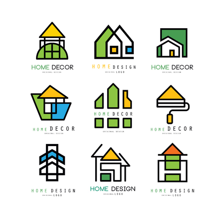 Set of abstract linear logo templates for construction or architecture company. House painting, home decor and repair. Emblems for interior decorators and designers. Isolated vector illustration.