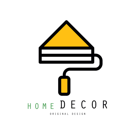 Original logo template with paint roller for interior decorators and designers. Linear style emblem for house painting, decor and repair services. Vector illustration isolated on white background. Vectores