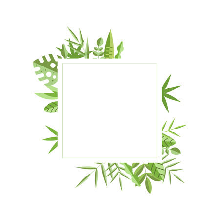 Square frame with green leaves on background. Natural border. Flat vector element for wedding invitation, save the date or mobile app