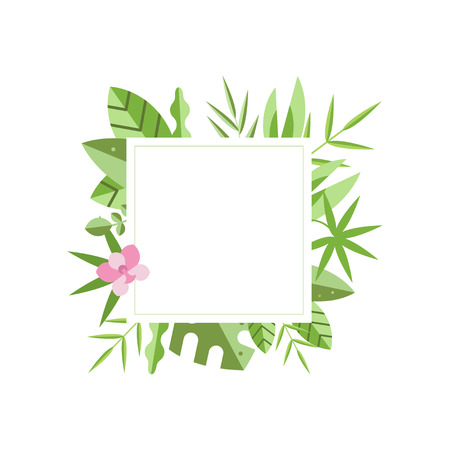 Square frame with green tropical leaves and pink flower on background. Natural border. Flat vector for banner, flyer, greeting card or invitation