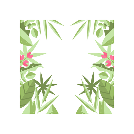 Original square frame of various green leaves, branches and pink flowers. Botanical theme. Decorative element for invitation or greeting card. Colored flat vector design isolated on white background.