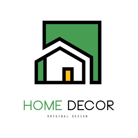 Geometric logo template with abstract building. Original linear emblem with green fill for interior design and home decorating company or business. Vector illustration isolated on white background. Vectores