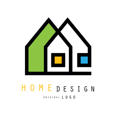 Abstract city houses for logo design of construction or architecture company. Graphic emblem for store with home decor items, interior decorators and designers. Vector illustration isolated on white.