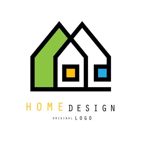 Abstrakte Stadthäuser für Logodesign der Bau- oder Architekturfirma. Grafik-Emblem für Geschäft mit Wohnaccessoires, Innenarchitekten und Designern. Vektorabbildung getrennt auf Weiß.