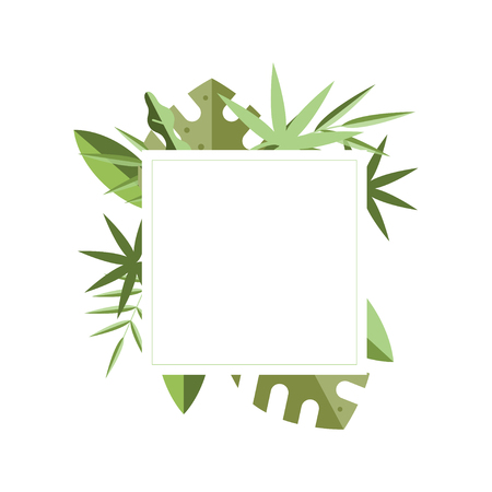 White square frame with place for text and various green leaves of tropical plants on background. Botanical theme. Nature border. Decorative element for greeting card. Isolated flat vector design.