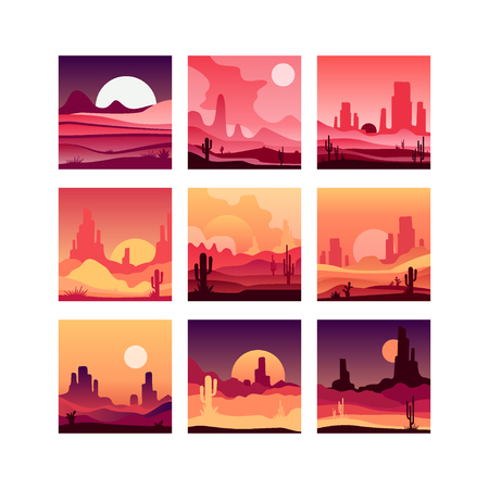 Vectoe set of cards with western desert landscapes with silhouettes of rocky mountains, cactus plants and sunset sunrise. Design in gradient colors Illustration