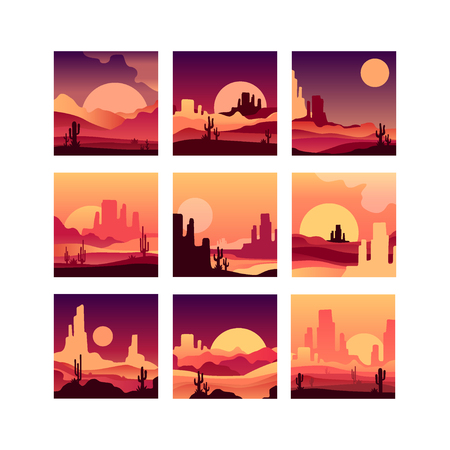 A Vector set of cards with sandy desert landscapes with cactus plants, rocky mountains and sunsets sunrises. Design in gradient colors Ilustração