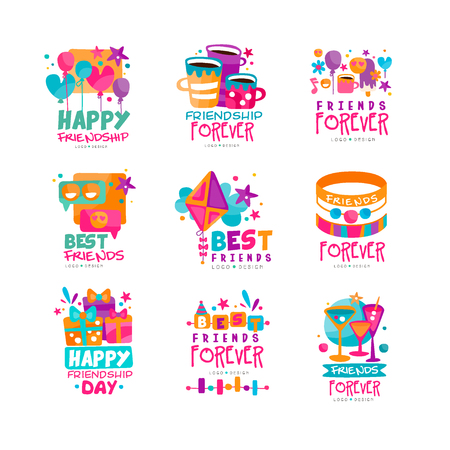 Set of abstract friends logo templates. Happy friendship day. Original vector design for postcard, invitation, mobile app or messenger