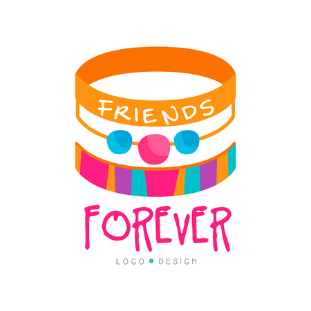 Abstract vector design with friendship bracelets. Friends forever. Colorful graphic element for greeting card, poster, print or logo of mobile app