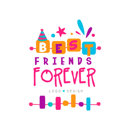 Best friend forever logo template with lettering. Friendship theme. Vector design for invitation, postcard, print or shop of gifts and souvenirs
