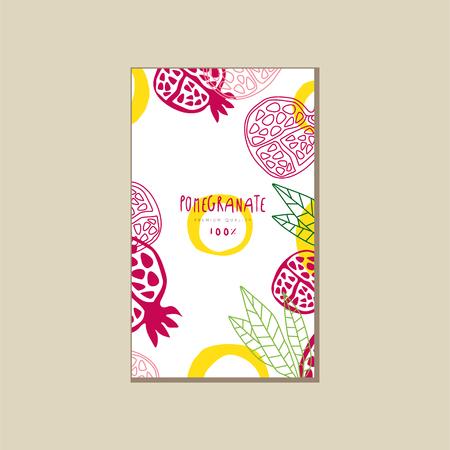 ザクロの熟した半分の抽象的なカード。甘くて健康的なフルーツ。天然物。広告ポスター、ジュースまたはヨーグルト包装のための手描きベクトル