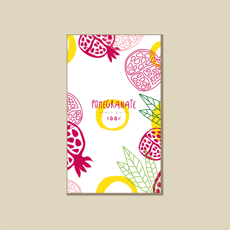 Abstract card with ripe halves of pomegranate. Sweet and healthy fruit. Natural product. Hand drawn vector design for advertising poster, juice or yogurt packaging