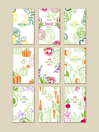 Vector set of bright vertical cards with fresh vegetables. Organic farm food. Vegetarian nutrition. Hand drawn design for promo poster of grocery store or product emblem