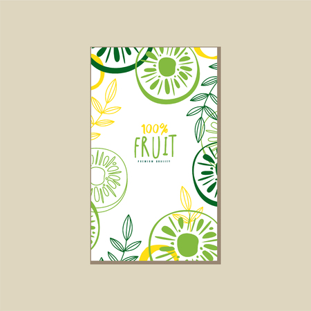 Bright vertical card with sweet kiwi and leaves. Delicious tropical fruit. Organic and healthy product. Eco food. Colorful abstract vector design for promo poster