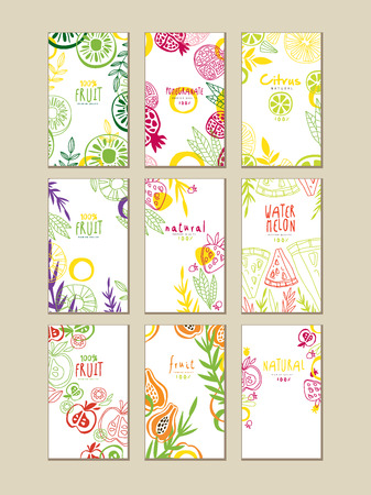 Set of abstract cards or banners with natural fruits. Organic and fresh food. Healthy eating. Creative vector design for product packaging or promo poster