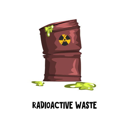 Dangerous radioactive waste. Rusty barrel with green toxic liquid. Environmental protection theme. Flat vector for poster or infographic Ilustração