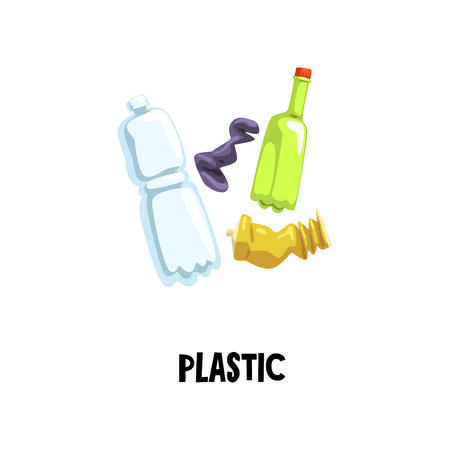 Information icon about plastic waste. Empty tube and two bottles. Sorting and recycling household garbage. Flat vector for social advertising Banque d'images - 98777803