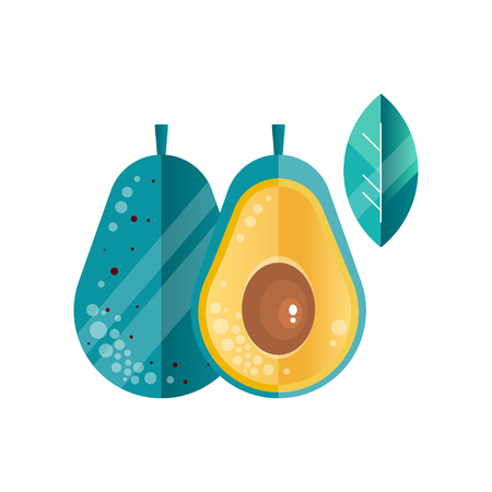 Whole and half of ripe avocado and leaf in gradient colors. Healthy vegetable. Vegetarian nutrition. Natural product. Abstract vector