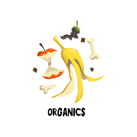 Organic litter bone, peel of banana and stub of apple. Rotten food. Flat vector illustration of waste recycling and trash sorting Stock Illustratie