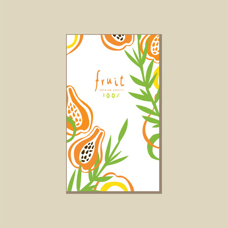 Creative bright card with fresh halves of papaya pawpaw . Fresh tropical fruit. Healthy vegetarian nutrition. Abstract vector design Illustration