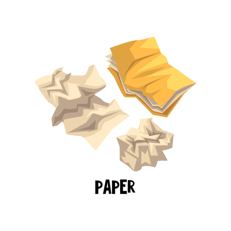 Flat vector icon representing one of the sorts of garbage, dry waste crumpled folder with documents and paper. Sorting of rubbish Illustration