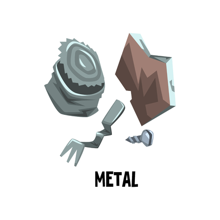 Metal waste old tin can, bent fork, screw. Trash sorting theme. Garbage recycling. Flat vector design for infographic or information poster