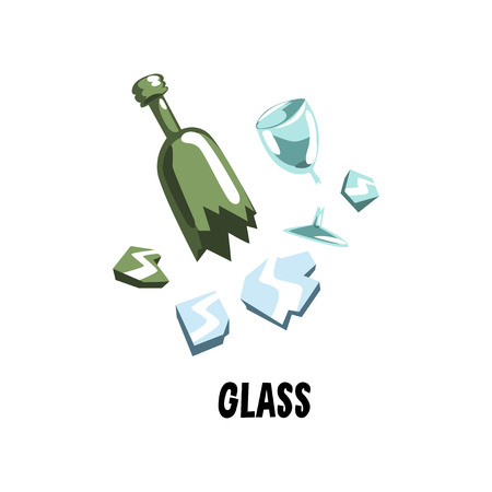 Glass garbage broken mirror, green bottle and wine goblet. Trash sorting. Flat vector illustration for concept about clean environment Illustration