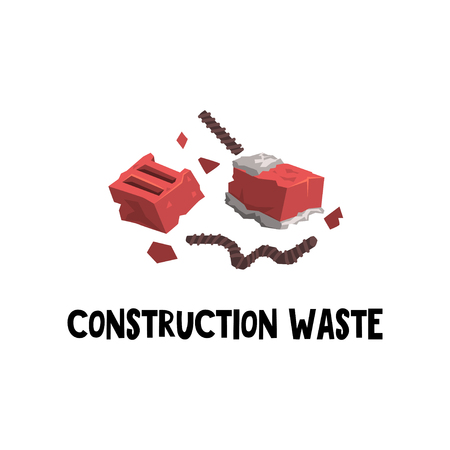 Flat vector icon of construction garbage red broken brick with frozen cement and bent steel rebar. Waste sorting and trash recycling theme