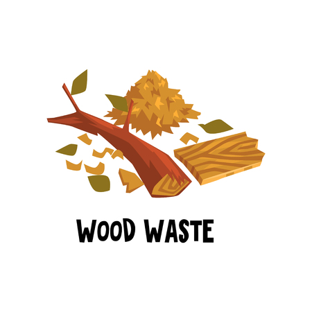 Cartoon design of wood waste dry brunch of tree, stack of sawdust and broken plank. Colored illustration for manual about garbage recycling. Environmental protection theme. Isolated flat vector icon. Vettoriali