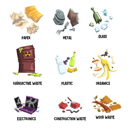 Separación de basura en papel, metal, vidrio, desechos radiactivos, plástico, orgánicos, electrónica, basura de construcción y madera. Tema de protección del medio ambiente. Diseño vectorial plano aislado en blanco. Foto de archivo - 98771005