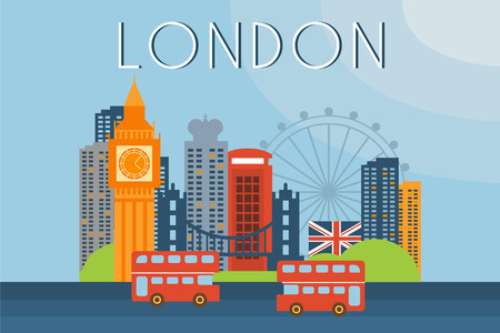London, travel landmarks, city architecture vector illustration in flat style , design element for banner or poster.