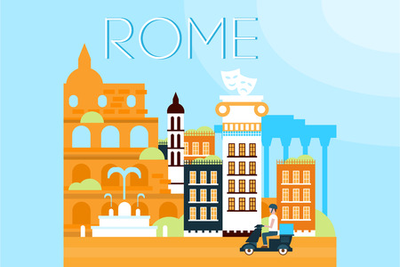 Rome, travel landmarks, city architecture vector illustration in flat style, design element for banner or poster.