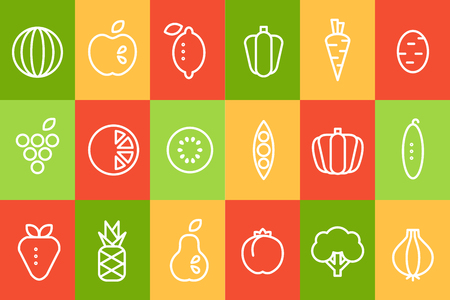 Fruits and vegetables icons set, food signs line vector illustration isolated on white background Illustration