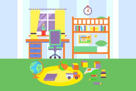 Preschool or school student boy room interior, bedroom with toys, bed, bookshelf, books, desk colorful vector illustration, flat style