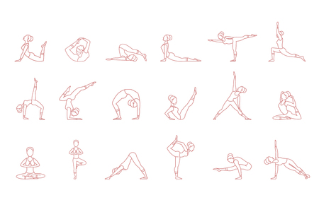 Women pink silhouettes in yoga poses set, asana collection vector illustrations on a white background.
