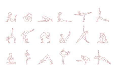 Siluetas de mujeres rosa en conjunto de poses de yoga, ilustraciones de vector de colección de asana sobre un fondo blanco.