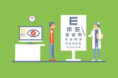 Male patient at ophthalmologist doctors consultation, clinic office interior vector illustration in flat style