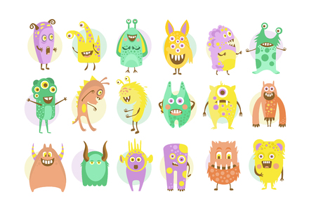 Funny cute colorful monsters characters set vector illustrations on a white background.