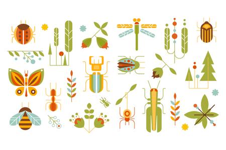 野生の植物や昆虫セット、森林要素コンセプトベクターイラスト