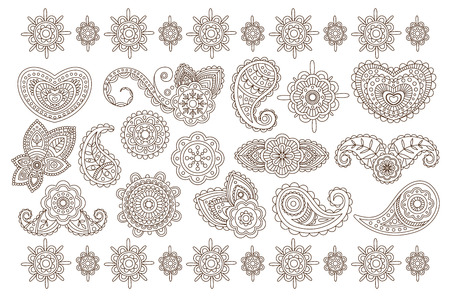 Big vector collection of Indian floral ornaments. Back mandala flowers. Elegant vintage henna. Graphic elements for postcard decoration or tattoo. Monochrome illustration isolated on white background.