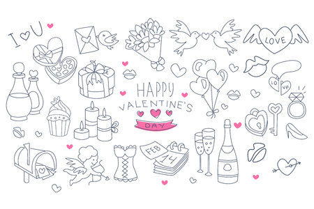 Set of hand drawn symbols of Valentine s Day. Linear bouquet of flowers, bottle of champagne and glasses, balloons, doves, candles. Isolated vector elements for greeting card, poster or invitation. Ilustração